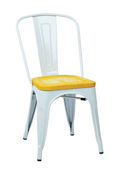 2 Bristow Modern Ash Yellow Vintage Wood Seat White Metal Frame Chairs OSP-BRW2911A2-C308