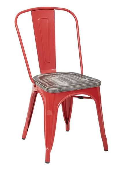 4 Bristow Modern Red Crazy Horse Metal Wood Seat Chairs OSP-BRW299A4-C306