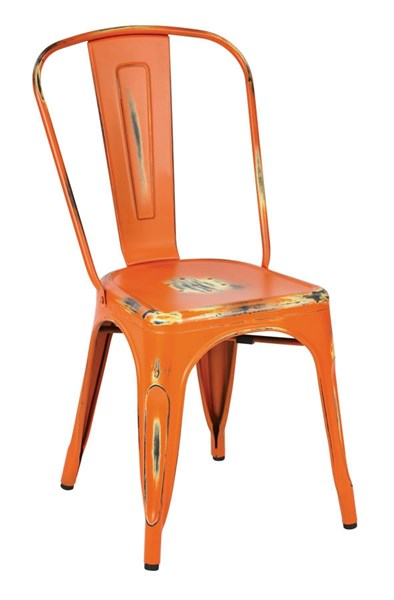 4 Bristow Modern Antique Orange Metal Armless Chairs OSP-BRW29A4-AOR