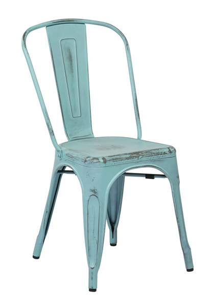 2 Bristow Modern Antique Sky Blue Metal Armless Chairs OSP-BRW29A2-ASB