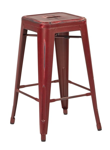 2 Bristow Modern Antique Red Metal 26 Inch Barstools OSP-BRW3026A2-ARD