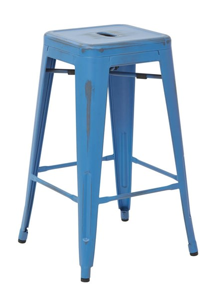4 Bristow Modern Antique Royal Blue Metal 26 Inch Barstools OSP-BRW3026A4-ARB