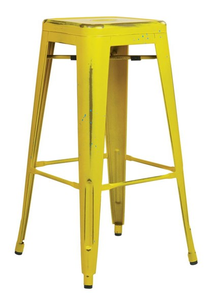 4 Bristow Modern Antique Yellow Blue Specks Metal 30 Inch Barstools OSP-BRW3030A4-AY