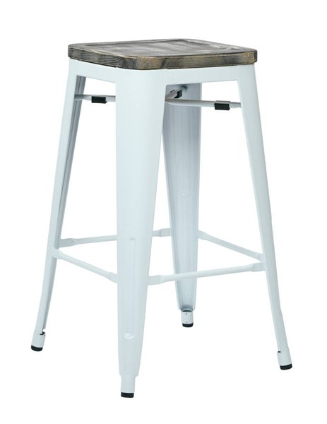 2 Bristow 26 Inch Ash Vintage Wood Seat White Metal Frame Barstools OSP-BRW312611A2-C306