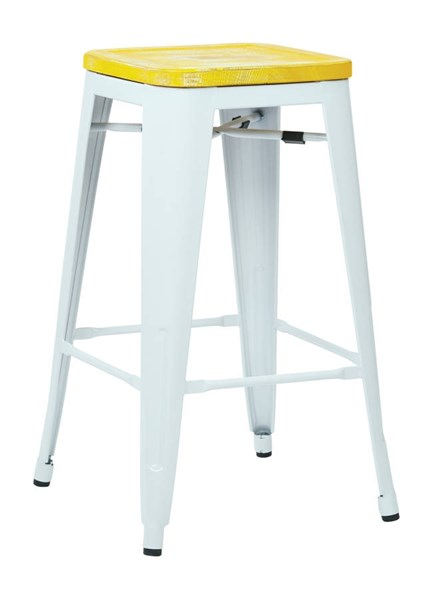 2 Bristow 26 Inch Ash Yellow Wood Seat White Metal Frame Barstools OSP-BRW312611A2-C308