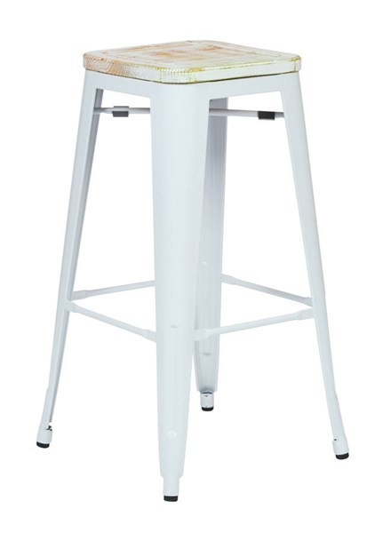 2 Bristow 30 Inch Vintage Wood Seat White Frame Metal Barstools OSP-BRW313011A-C30-BS-VAR