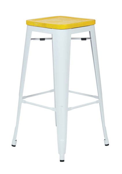 4 Bristow 30 Inch Yellow Wood Seat White Metal Frame Barstools OSP-BRW313011A4-C308