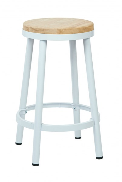 Bristow Modern White Metal Wood Footrest 26 Inch Backless Barstool OSP-BRW3226-11