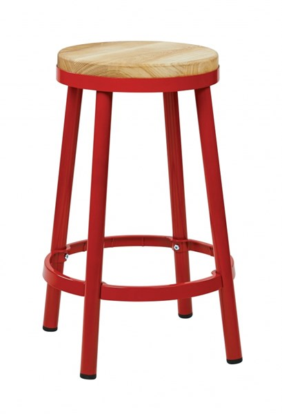 Bristow Modern Red Metal Wood Footrest 26 Inch Backless Barstool OSP-BRW3226-9