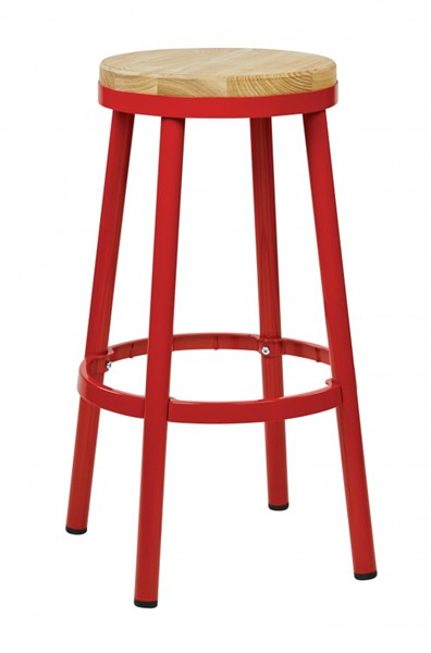 Bristow Modern Red Metal Wood Footrest 30 Inch Backless Barstool OSP-BRW3230-9