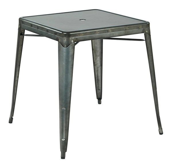 Bristow Modern Matte Galvanized Umbrella Hole Center Metal Table OSP-BRW432U-C210-1