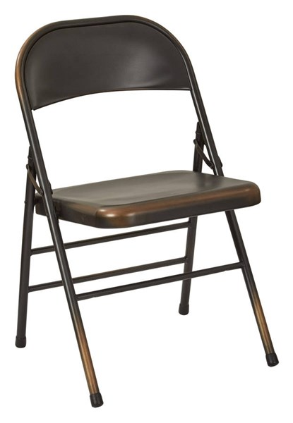 2 Bristow Rustic Antique Copper Metal Folding Chairs OSP-BRW831A2-AC