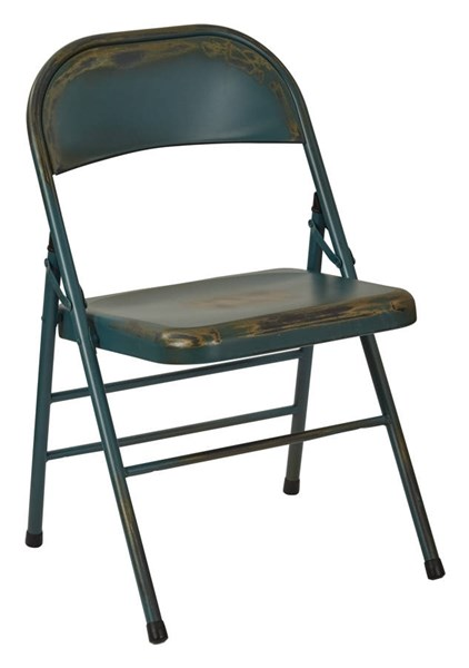 2 Bristow Rustic Antique Tourquoise Metal Folding Chairs OSP-BRW831A2-ATQ