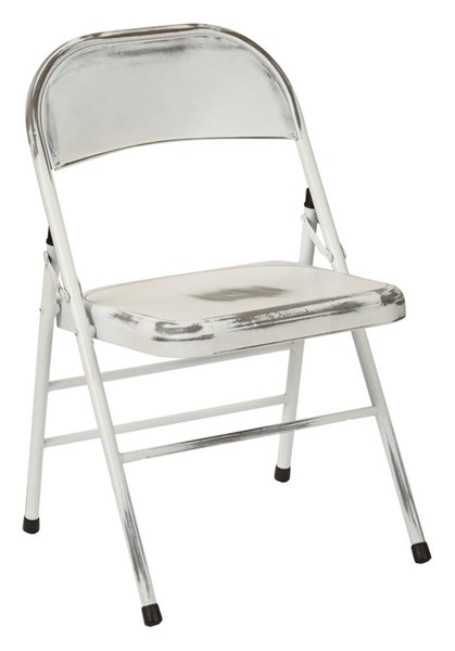 2 Bristow Rustic Antique White Metal Folding Chairs OSP-BRW831A2-AW
