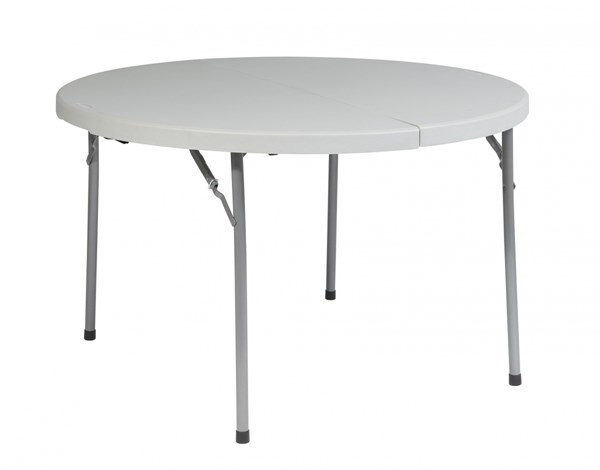 White 48 Inch Round Fold In Half Resin Purpose Table The