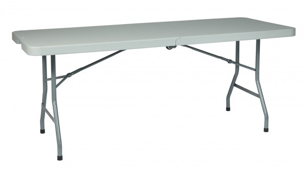 White 6 Feet Resin Purpose Center Fold Tables W/Casters OSP-BT6FQW