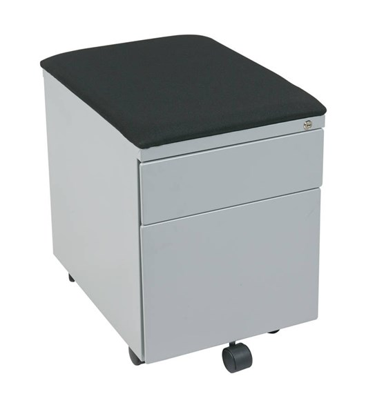 Mobile Black Gray Metal Fabric Padded Seat File Cabinet OSP-BXPMC22BF-GY