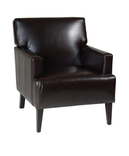 Carrington Modern Espresso Bonded Leather Wood Arm Chair OSP-CAR51A-EBD