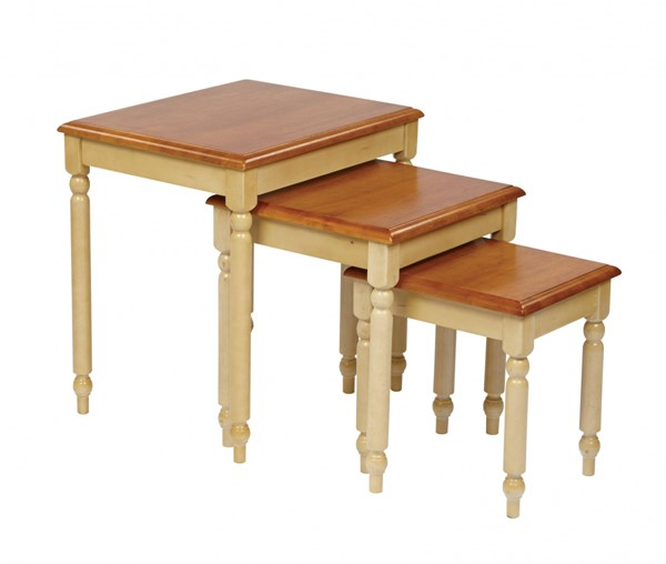 Country Cottage Transitional White Cherry 3pc Nesting Tables OSP-CC19