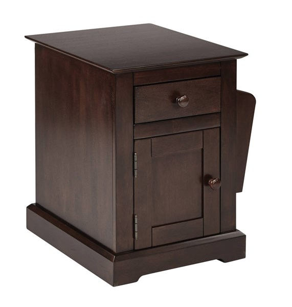 Colette Old World Walnut Solid Wood Storage Compartment Side Table OSP-CLT08AS-WA