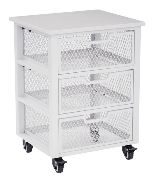 Clayton Contemporary White Metal Frame 3 Drawer Rolling Cart OSP-CLY03AS-11