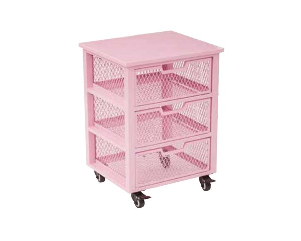 Clayton Contemporary Pink Metal Frame 3 Drawer Rolling Cart OSP-CLY03AS-261