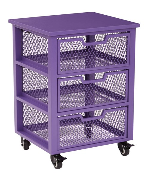 Clayton Contemporary Purple Metal Frame 3 Drawer Rolling Cart OSP-CLY03AS-512