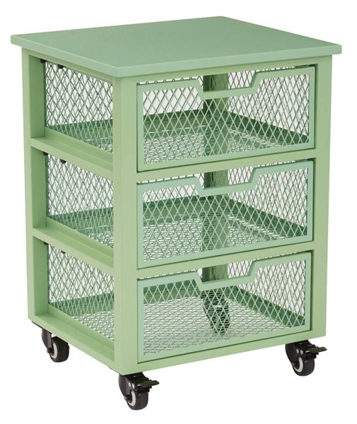 Clayton Contemporary Green Metal Frame 3 Drawer Rolling Cart OSP-CLY03AS-6