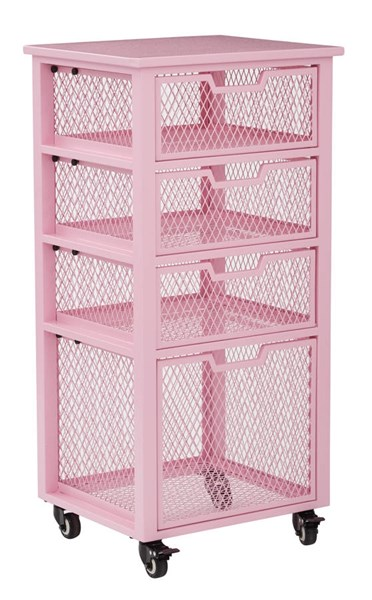 Clayton Contemporary Pink Metal Frame 4 Drawer Rolling Cart OSP-CLY04AS-261