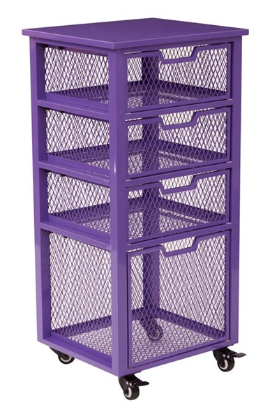 Clayton Contemporary Purple Metal Frame 4 Drawer Rolling Cart OSP-CLY04AS-512