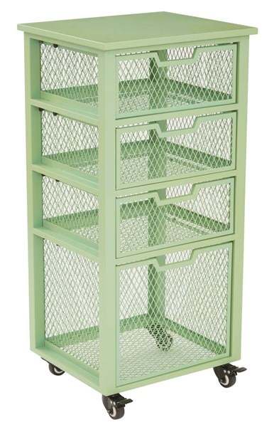 Clayton Contemporary Green Metal Frame 4 Drawer Rolling Cart OSP-CLY04AS-6