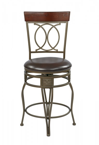 Cosmo Contemporary Espresso Wood Faux Leather Metal Swivel Barstools OSP-CSM25-ES-VAR
