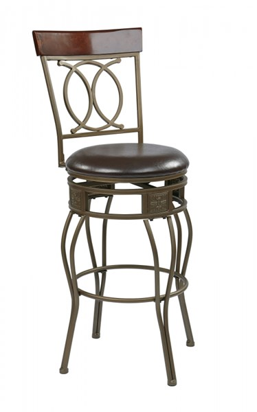 Cosmo Contemporary Espresso Faux Leather 30 Inch Metal Swivel Barstool OSP-CSM2530-ES