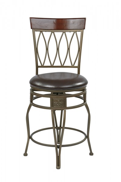 Cosmo Contemporary Espresso Faux Leather 24 Inch Swivel Barstool OSP-CSM2624-ES