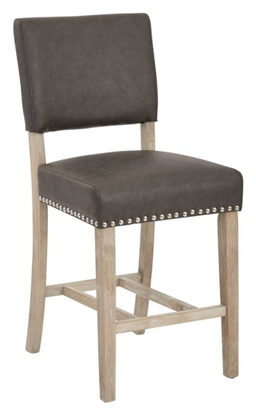 Carson Elite Pewter Bonded Leather Solid Wood Legs Counter Stool OSP-CSN24-BD4
