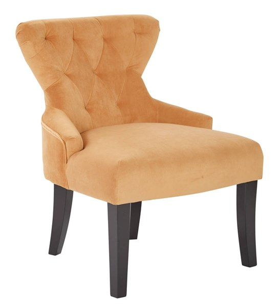 Curves Traditional Butternut Fabric Solid Wood Hour Glass Accent Chair OSP-CVS26-B42