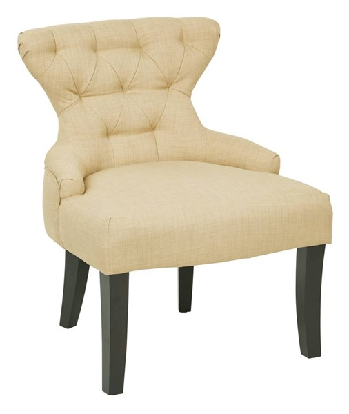 Curves Traditional Maize Fabric Solid Wood Hour Glass Accent Chair OSP-CVS26-M39