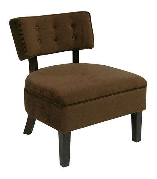 Curves Chocolate Fabric Solid Wood Button Accent Chair