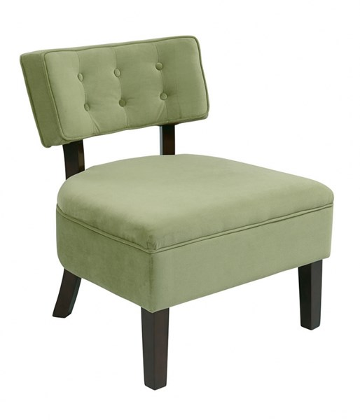 Curves Spring Green Fabric Wood Button Accent Chair OSP-CVS263-G28