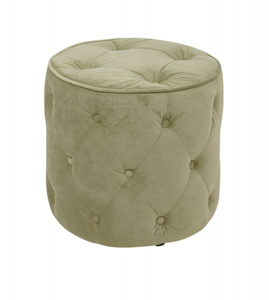 Curves Spring Green Fabric Wood Tufted Round Ottoman OSP-CVS905-G28