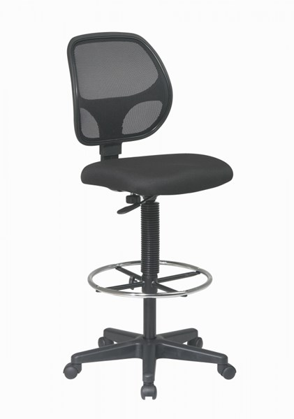 DC Series Black Deluxe Fabric Back Drafting Chair w/20 Inch Foot Ring OSP-DC2990