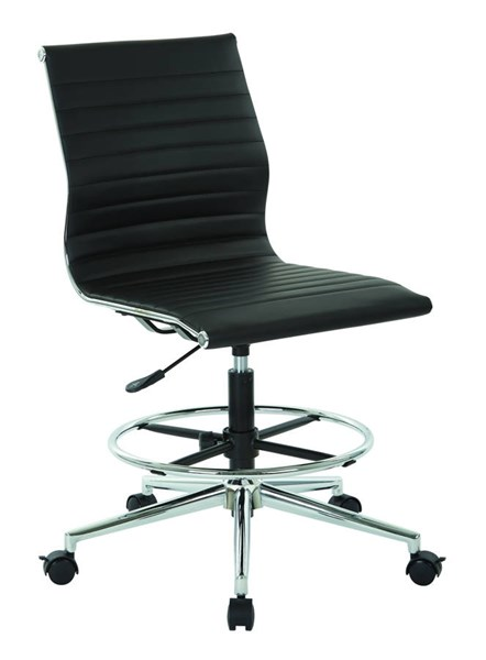 DC Series Black Aluminum Metal Faux Leather Mid Back Armless Chair OSP-DC3830C-U6