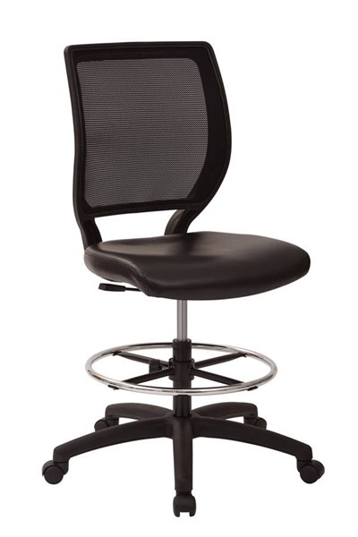 DC Series Black Vinyl Seat Mesh Back Metal Armless Drafting Chair OSP-DC51000NV-3