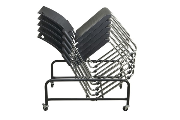 Stc Series Black Fabric Metal Straight Leg Stack Chairs Ships W/Dolly OSP-STC8302-3-DOLLY