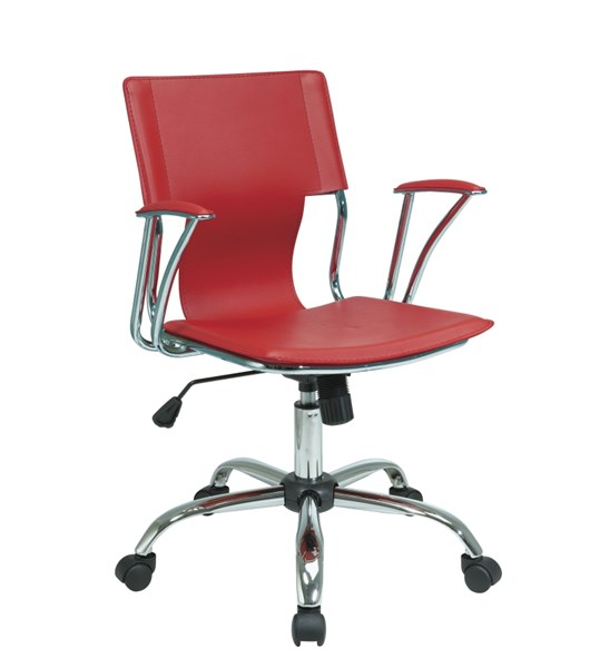 Dorado Red Vinyl Chrome Office Chair With Fixed Padded