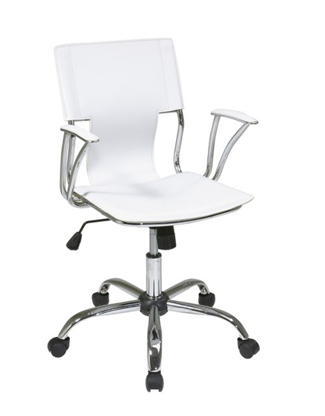 Dorado White Vinyl Chrome Office Chair with Fixed Padded Arms OSP-DOR26-WH