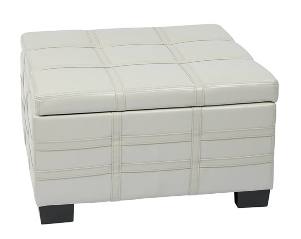Detour Transitional Cream Bonded Leather Strap Tray Top Ottoman OSP-DTR3030S-CMBD