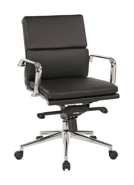 Mid Back Black Bonded Leather Knee Tilt Control Chrome Base Chair OSP-EC39891C-EC3