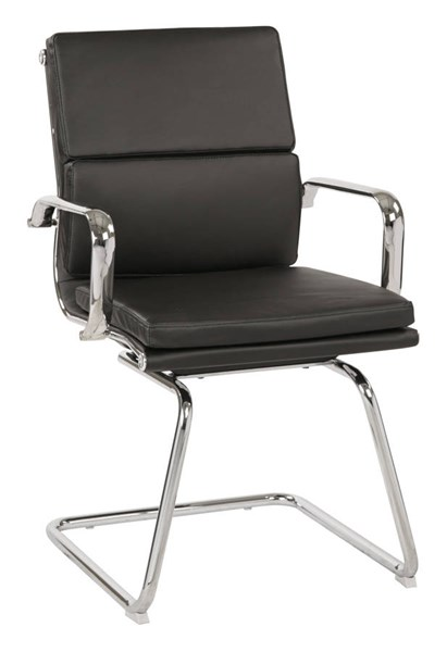 Mid Back Black Bonded Leather Chrome Arms & Sled Base Visitor Chair OSP-EC39895C-EC3