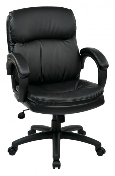 EC Series Black Mid Back Bonded Leather Padded Arms Executive Chair OSP-EC9231-EC3